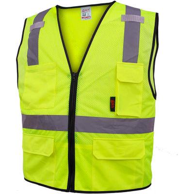 GSS Safety 1505 Multi-Purpose Class 2 Mesh Zipper 6 Pockets Safety Vest, Lime, 3XL