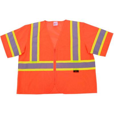GSS Safety 2006 Standard Class 3 Two Tone Mesh Zipper Safety Vest, Orange, Medium