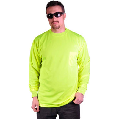 GSS Safety 5503 Moisture Wicking Long Sleeve Safety T-Shirt with Chest Pocket, Lime, 2XL