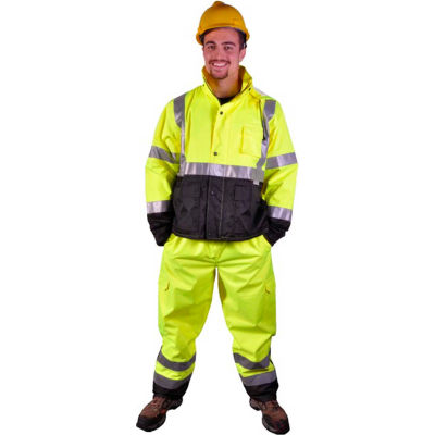 GSS Safety 6803 Class E Premium Waterproof Rain Pants, Lime with Black Bottom, L/XL