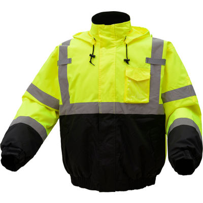 GSS Safety Hi-Visibility Class 3 Waterproof Quilt-Lined Bomber Jacket, Lime/Black, 2XL