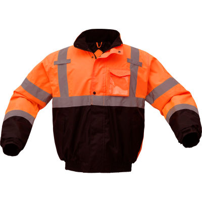 GSS Safety 8002 Class 3 Waterproof Quilt-Lined Bomber Jacket, Orange/Black, 2XL