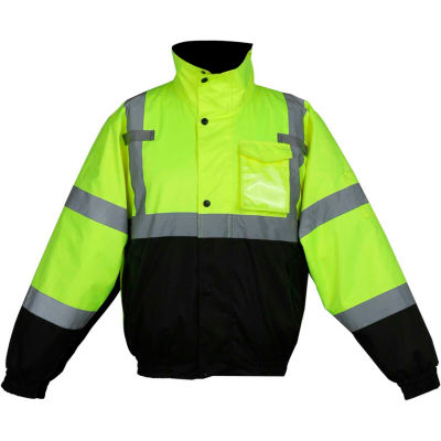 GSS Safety Hi-Visibility Class 3 3-In-1 Waterproof Bomber Jacket W/Fleece Lining, Lime/Black, L
