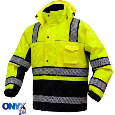 GSS Safety 8505 3-In-1 Waterproof Parka, Class 3, Lime/Black, M