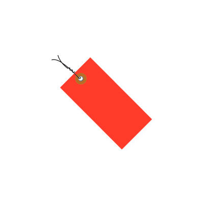 """#5 Wired Red Tyvek Tag 4-3/4"""" x 2-3/8"""" - 100 Pack"""