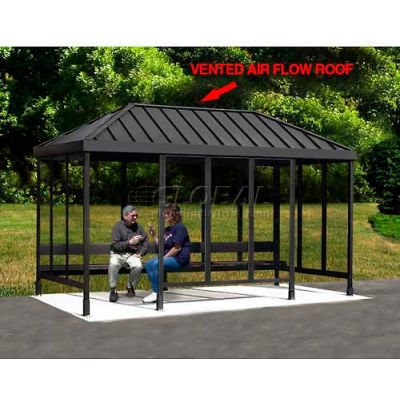 "Smoking Shelter 4-1VR-CA, 3-Sided, Open Front, 10'L x 2'8""W, Vented Standing Seam Roof, Clear"