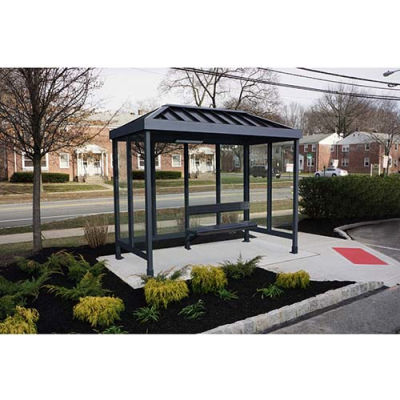 Smoking Shelter 4-2VR-DKB, 3-Sided, Open Front, 10'L x 5'W, Vented Standing Seam Roof, DK BRZ