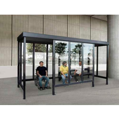 """Smoking Shelter 6-3WSF-CA, 4-Sided W/L & R Open Front, 15'L x 7'6""""W, Flat Roof, Clear"""