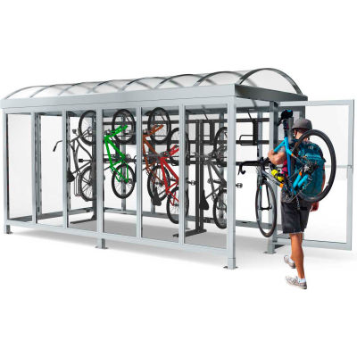 "Peapod Mini 8-15 SS / Locking Bike Shelter 21'10""L x 7'5""W - 15 Bike Capacity - Barrel Roof"