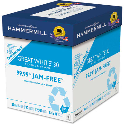 "Recycled Copy Paper - Hammermill 67780 - White - 8-1/2"" x 11"" - 2500 Sheets/Carton"