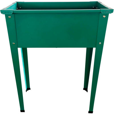"Hanover Galvanized Steel Raised Planter Bed with Legs, 12""D x 24""W x 31""H, Green"