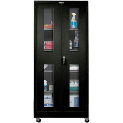 Hallowell 415S24SVMA-ME 400 Series Safety-View Door Mobile Storage Cabinet,36x24x72, Ebony,Assembled
