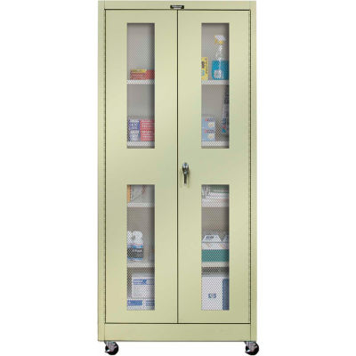 Hallowell 425S24EVMA 400 Series Ventilated Door Mobile Storage Cabinet 48x24x72 Parchment, Assembled