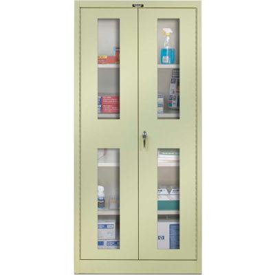Hallowell 425S24SVA-PT 400 Series Safety-View Door Storage Cabinet, 48x24x72, Parchment, Assembled