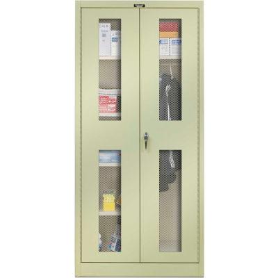 Hallowell 465C24EV-PT 400 Series Ventilated Door Combination Cabinet 48x24x72 Parchment, Unassembled