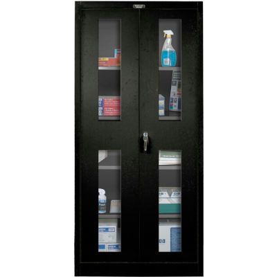 Hallowell 825S18SVA-ME 800 Series Safety-View Door Storage Cabinet, 48x18x78, Ebony, Assembled