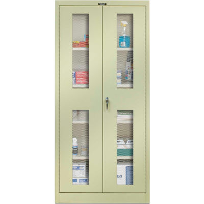 Hallowell 825S24EVA-PT 800 Series Ventilated Door Storage Cabinet, 48x24x78 Parchment, Assembled