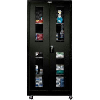 Hallowell 825S24EVM-ME 800 Series Ventilated Door Mobile Storage Cabinet,48x24x78, Ebony,Unassembled