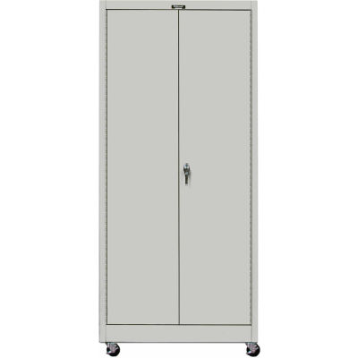 Hallowell MedSafe Antimicrobial 825S24MA Solid Door Mobile Storage Cabinet 48x24x78 Assembled