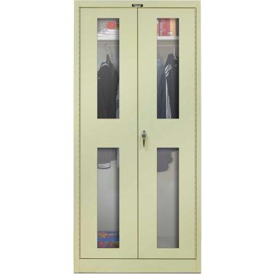 Hallowell 845W18SV-PT 800 Series Safety-View Door Wardrobe Cabinet, 48x18x78 Parchment, Unassembled