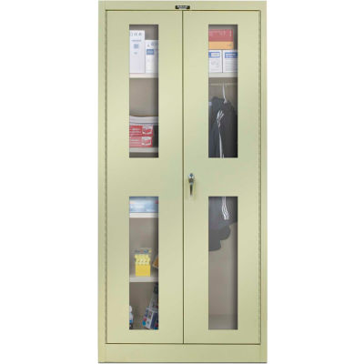Hallowell 865C24SVA-PT 800 Series Safety-View Door Combination Cabinet 48x24x78 Parchment, Assembled