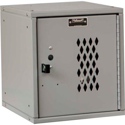 Hallowell HC121212 Cubix Modular Locker, Padlockable, 12x12x12, Diamond Perforated Door - Light Gray