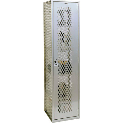 """Hallowell Welded Visible Storage Locker, 18-3/4""""Wx18""""Dx74-3/4""""H, Light Gray, Assembled"""