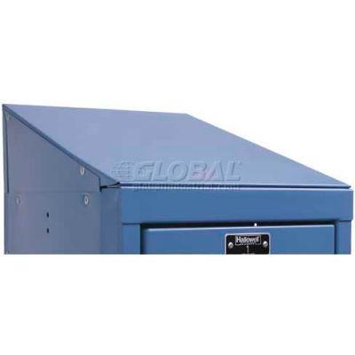 """Hallowell KISTT1215MB Steel Locker Accessory, Individual Slope Top 12""""W x 15""""D x 5""""H Marine Blue"""