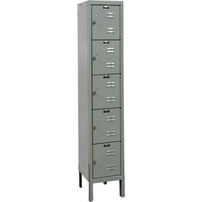 """Hallowell Five Tier 5 Door Premium Steel Locker, 12""""Wx12""""Dx12""""H, Dark Gray, Unassembled"""