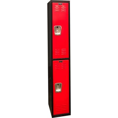"""Hallowell Double Tier 2 Door Black Tie Steel Locker, 12""""Wx18""""Dx36""""H, Black/Red, Assembled"""