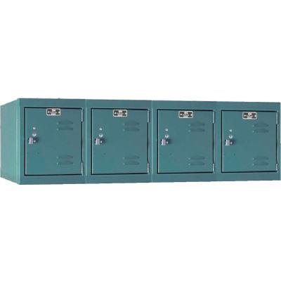 """Hallowell Single Tier 4 Door Premium Wall Mount Locker, 12""""Wx18""""Dx14-3/4""""H, Dark Gray, Unassembled"""