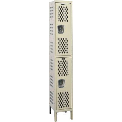"Hallowell Double Tier 2 Door Heavy-Duty Ventilated Locker, 18""Wx21""Dx36""H, Tan, Assembled"