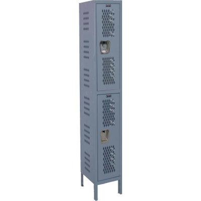 Hallowell U1888-2HDV Heavy-Duty Ventilated Locker Double Tier 18x18x36 2 Doors Unassembled Dark Gray