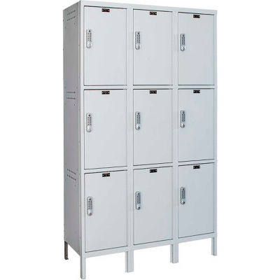 Hallowell UELBP3588-3PL Laptop/Backpack Locker, 45x18x24, 3 Tier, 3 Wide, Unassembled - Light Gray