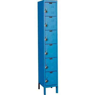 "Hallowell URB1288-6A-MB ReadyBuilt Locker, 12""W x 18""D x 12""H, Blue, 6 Tier, 1 Wide"