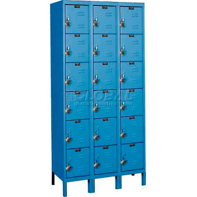 """Hallowell Ready-Built™ Six Tier 18 Door Steel Locker, 12""""Wx12""""Dx12""""H, Blue, Assembled"""