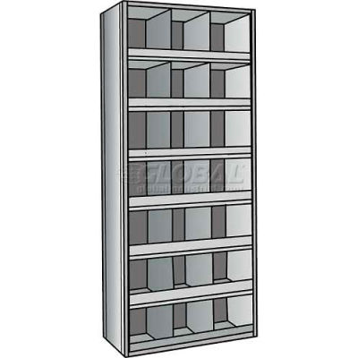 "Hallowell 5536-12HG Hi-Tech 21 Bins Parts Bin Unit 36""W x 12""D x 87""H Gray Starter"
