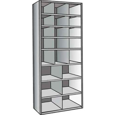 "Hallowell A5532-18HG Hi-Tech Parts Bin Unit 36""W x 18""D x 87""H Gray Add-on 21 Bins"