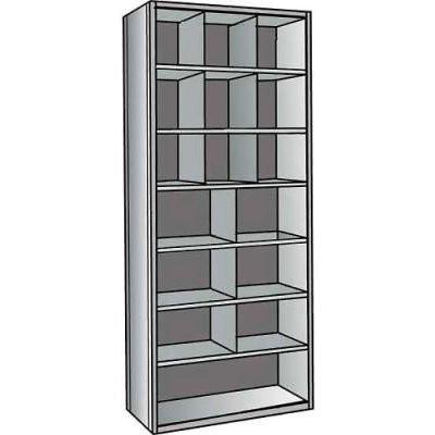 "Hallowell A5533-24HG Hi-Tech Parts Bin Unit 36""W x 24""D x 87""H Gray Add-on 10 Bins"