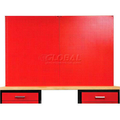 """Fort Knox Pegboard, 72""""W x 0.75""""D x 44.25""""H, Red"""