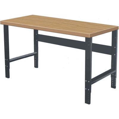 Hallowell 60 x 30 HWB6030M-ME Height Adjustable Workbench - Maple Butcher Block Square Edge