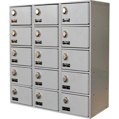 "Hallowell 15 Door Tablet/Cell Phone Locker W/Hasp Locks, 27""Wx12""Dx30-1/2""H, Light Gray, Assembled"