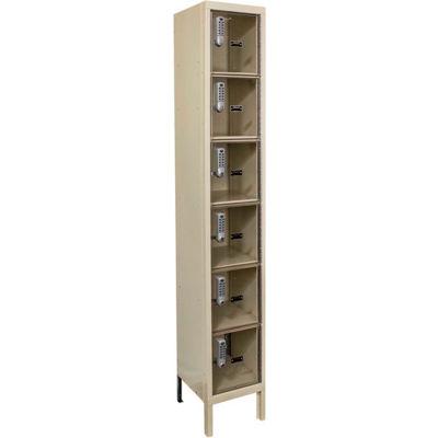 Hallowell UESVP1258 Safety-View Plus Locker w/DigiTech Lock 12x15x12 - 6 Tier 1W - Assembled - Tan