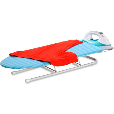 Deluxe Tabletop Ironing Board w/Retractable Iron Rest, White Frame/Aqua Blue Cover, 0.6MM Wood Top