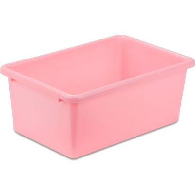 """Small Plastic Bin 11-3/4""""L x 7-3/4""""W x 5""""H - Light Pink - Pkg Qty 5"""