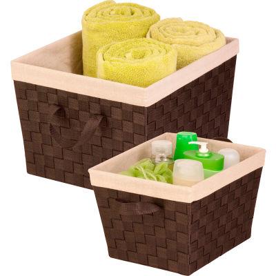2-Piece Woven Basket Set with Liner - Espresso - Pkg Qty 2