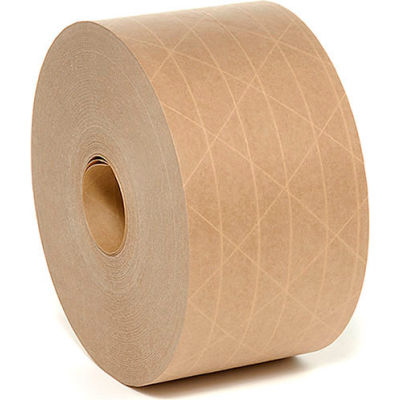 """Heavy-Duty Reinforced Water Activated Kraft Tape 3"""" x 375' Tan - Pkg Qty 8"""