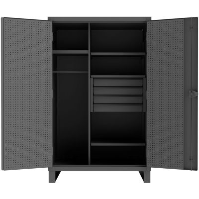 "Durham Heavy Duty Pegboard & Shelf Cabinet HDWCP244878-4M95 - 12 Gauge 48-3/16""W x 24-1/16""D x 78""H"