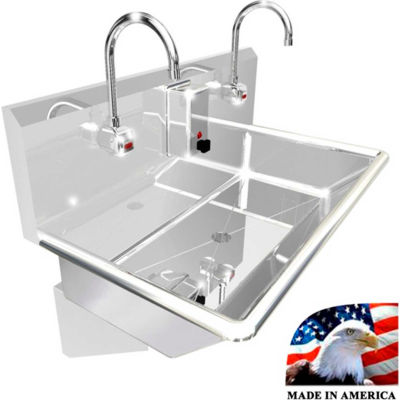 """BSM Inc. Stainless Steel Sink, 2 Stations w/Electronic Faucets, Wall Mounted 36"""" L X 20"""" W X 8"""" D"""