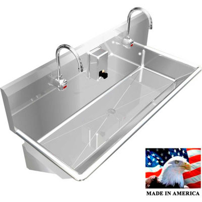 """BSM Inc. Stainless Steel Sink, 2 Station w/Electronic Faucets, Wall Mounted 48"""" L X 20"""" W X 8"""" D"""